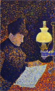 Woman by a lamp - Paul Signac  https://www.artexperiencenyc.com/social_login/?utm_source=pinterest_medium=pins_content=pinterest_pins_campaign=pinterest_initial
