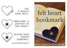 Felt heart bookmark (Simple Serendipities via Curbly)
