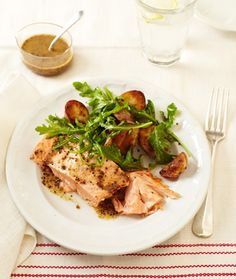 Roasted Salmon and Potatoes with Honey-Mustard Vinaigrette.  #myplate #protein #vegetables #grains
