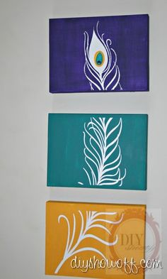 DIY Tutorial: Peacock Feather Triptych (Using 3 canvases, a vinyl image and paint) canvas paintings diy, canvas art peacock, canvas diy painting, wall art diy canvas, canvas wall art, canvases diy, diy art paintings, 3 piece canvas art diy, diy peacock feathers