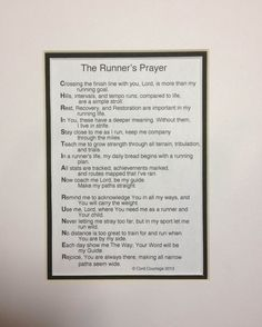 The Runner's Prayer Athlet Prayer, Runner Prayer