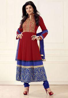 Red Faux Georgette Anarkali Churidar Kameez @ $78.81