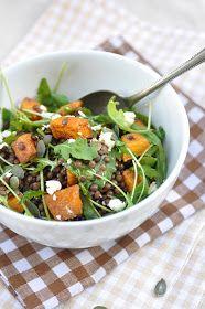 Lentil Pumpkin Salad with Arugula and Feta