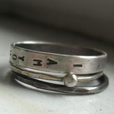 sterling silver wedding set personalized stacking rings from tinahdee on etsy.
