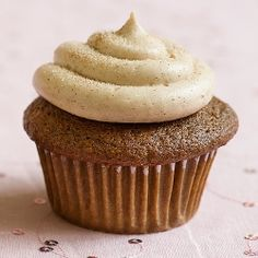 Gingerbread cupcakes with delectable cinnamon cream cheese frosting!  gingerbread cupcakes - heaven :-)