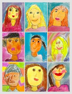 1st and 2nd grade chalk pastel portraits