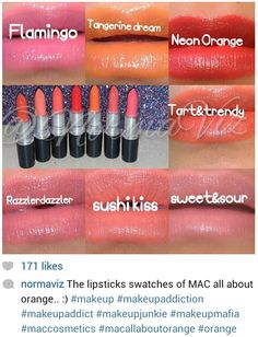 MAC all about Orange collection Swatches by @Norma Johnson Vizcarra ♡