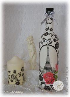 Itens de decoração Decoupage cracelures Garrafas e frascos de vidro define Guardanapos foto 1