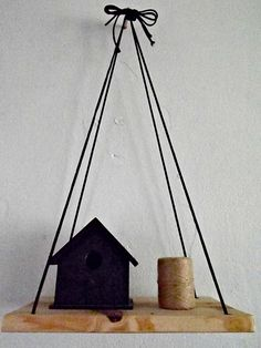 Hanging wooden shelf by OneHappyMess on Etsy, $20.00