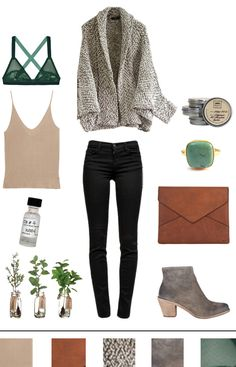 Peachy beige tank top, grey and white open cardigan, black skinny jeans, grey booties, square turquoise ring
