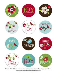 Christmas DIY Printable Circles. Etsy.