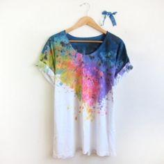 fashion, tie dye shirts, cloth, color, paint, splash dy, t shirts, craft ideas, diy