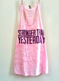 """X Large Pale Pink Women's """"Stronger Than Yesterday"""" Crossfit/ Fitness / Workout Tank Top"""