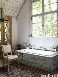 Fabulous Bathroom with Amazing Wooden Paneling on Bath and Wall