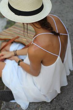 summer styles, maxi dresses, summer hats, summer dresses, dress fashion, white criss, cross strappi, chiffon dresses, back details
