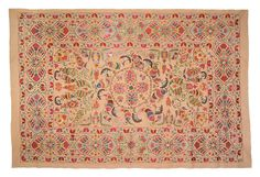 Fabric: Vintage hand embroidered Uzbek suzani. Multi colored silk embroidery on hand loomed tea wash cotton ground. Gorgeous fish pond design. Perfect as wall hanging, bed scarf, or to throw over a sofa. Fabulous vintage suzani design execution and one of a kind. Dry clean only.