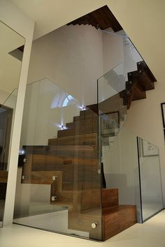 handsome wood and glass staircase