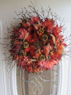 Fall Wreath - Autumn Wreath.  I LOVE the look of this one!