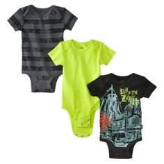Disney® Cuddly Newborn Boys 3 Pack Pirates Bodysuit Set - Black/Green.