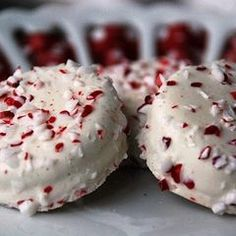 White chocolate oreos with peppermint Christmas cookie