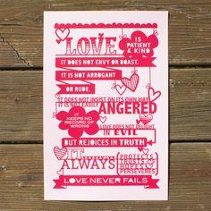 I Corinthians 13 Silkscreen Print - Red by Lori Danelle
