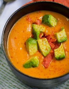 Primal Sweet Potato Chipotle Soup w/Avocado. Omit the tortilla chips.