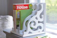 DIY Magazine Rack....or Cookbook Rack...or Book organizer