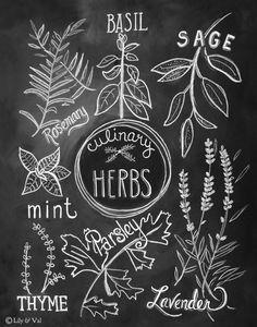 Culinary Herbs Print - Kitchen Art -  11 x 14 Print - Kitchen Chalkboard Art - Chalk Art. $29.00, via Etsy.