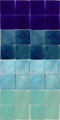 varied blue tiles