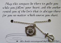Best Friend Compass and Anchor Charm Necklace and Friendship Quote - Long Distance Friendship - Friends Forever - Quote Gift