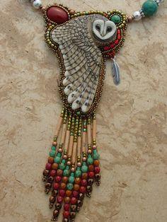 "Porcelain ""Maya"" Owl Necklace by Heidi Kummli"