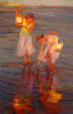 lantern, oil paintings, color, the ocean, at the beach, sea, dian leonard, artist, light