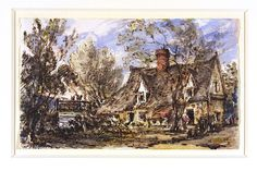 Bridge Cottage, Flatford, John Constable, 1832. Visit the real Flatford Mill http://www.nationaltrust.org.uk/flatford-bridge-cottage/