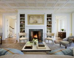 open floor plan with central fireplace, love