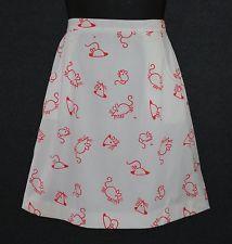 Vested Gentress Sz 14 Vtg White Orange Mouse Hand Screen Print Wrap Skirt
