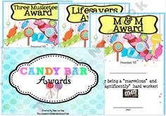 Candy bar awards for end of year