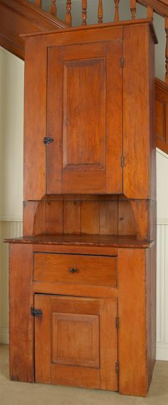 Early American Stained Pine Two-Part Cupboard...