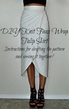 DIY Knit Faux Wrap Tulip Skirt   Tasha Delrae - tutorial for creating custom pattern.