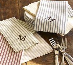Vintage Ticking Stripe Napkins, Set of 4 #potterybarn