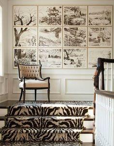 interior, stair landing, frame, gallery walls, art, carpet, animal prints, stair runners, zebra print