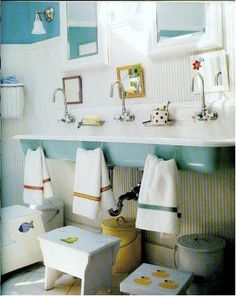 such a CUTE kid's bathroom with that great Kohler trough sink! love the turquoise