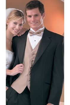 Love the champagne vest and bow tie! www.tuxedojunction.com