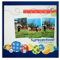 the circle border adds the perfect touch to this summer layout by @lisadickinson