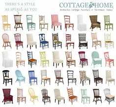 Every style of chair you can imagine. Fully customizable from paint colors and stains to fabrics and legs.  http://cottagehomefurniture.com  #diningchairs #accentchairs #fabricchairs #wickerchairs #cottagefurniture #CottageHome