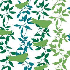 Fabric birds & leaves 150 cm from panduro