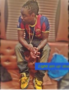 """Here we got Wale rocking a pair of Air Jordan retro 4 """"lightning"""". I personally love loud colors on sneakers, especially Jordans. What do you guys think about these Jordans?"""