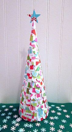 Paper Christmas Tree - When it comes to tabletop tree crafts for Christmas, the more colorful, the better!