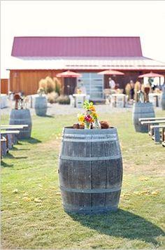Wine barrels as outdoor  decor