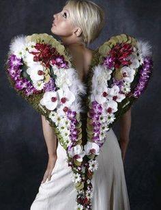 coghil floral, angel wings, floral design, flowerss corazon, art floral, flower fashion, angels, floral dress, floral art
