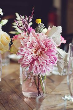 Centerpiece with dahlia, rose, dusty miller, lavender, & craspedia by The Little Branch floral. I want this exact arrangement :)